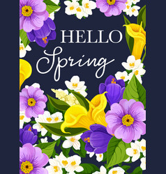 Hello spring flowers greeting card vector
