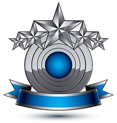 Heraldic 3d glossy blue and gray icon - can be vector image