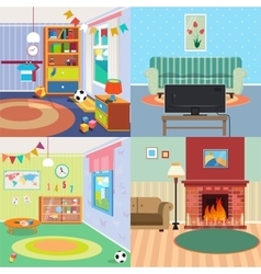 Home Interiors Set Children Bedroom Living Room vector