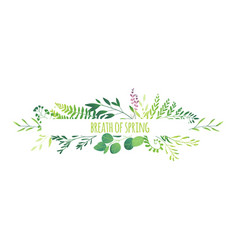 Horizontal banner - green leaves flowers branches vector