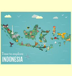 indonesian map with animals and landmarks vector image