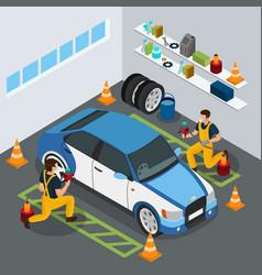 isometric auto service concept vector image