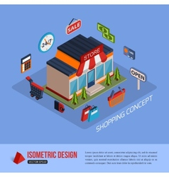Isometric shopping concept background with place vector image