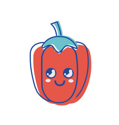 Kawaii cute thinking pepper vegetable vector