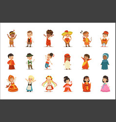 kids wearing national costumes different vector image