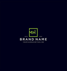 Letter mh with a square design vector