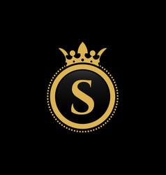 letter s royal crown luxury logo design vector image