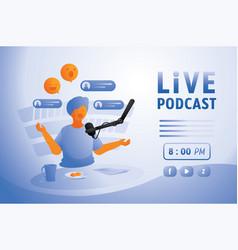 Live podcast in home studio vector
