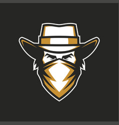 Male head in cowboy hat and bandana vector