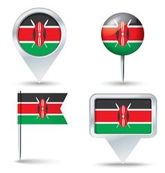Map pins with flag of Kenya vector