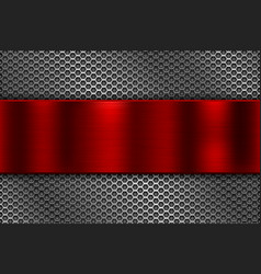 Metal perforated background with red plate vector