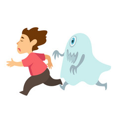 monster chasing boy isolated character nightmare vector image