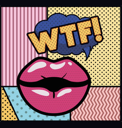 Mouth saying wtf pop art style vector