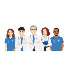 Multiethnic doctor team vector