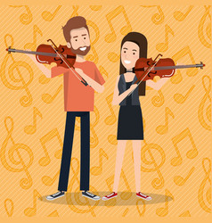 music festival live with couple playing violins vector image