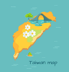 New moon bridge marked on taiwan map vector