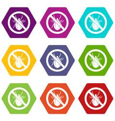 No bug sign icon set color hexahedron vector