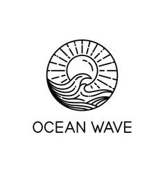 Ocean waves line art vector