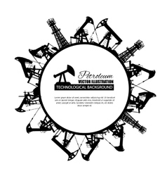 Oil industry circle frame vector