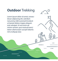 person uphill trail walking mountain ascent vector image