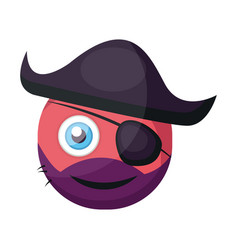 pirate pink round emoji with eye patch and pirate vector image
