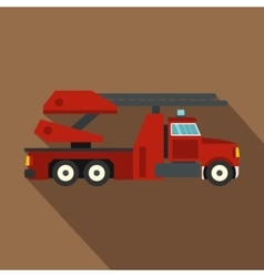 Red fire truck icon flat style vector image
