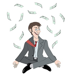relaxing man get a money vector image