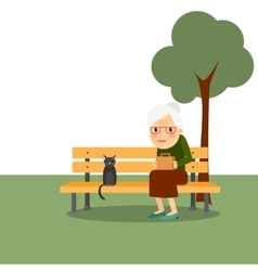 Retirement old woman in park vector