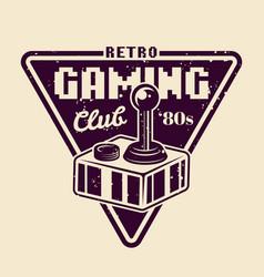 retro gaming club emblem with joystick vector image