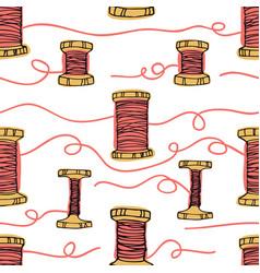 Retro wooden reels of thread living coral color vector