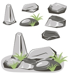 Rock stone set vector image