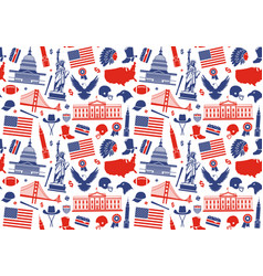seamless background with symbols of the usa vector image