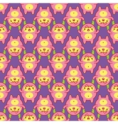 Seamless pattern with cute yeti vector