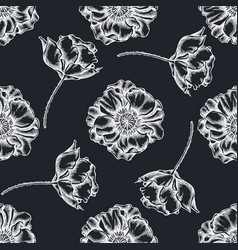 seamless pattern with hand drawn chalk poppy vector image