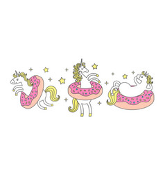 set funny unicorn in donuts cartoon style cute vector image