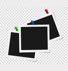 Set of square frames template on colored pins vector