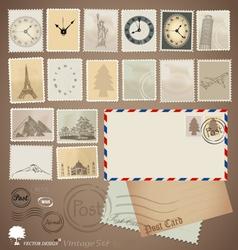 Set Vintage stamp designs envelope and postcard vector