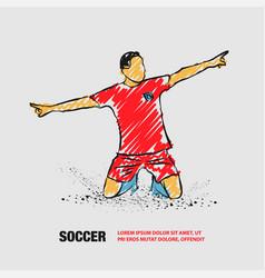 Soccer player celebrating a goal outline of vector