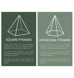 Square and hexagonal pyramid geometric shapes set vector