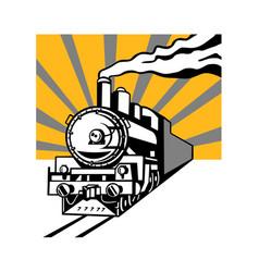 Steam train locomotive sunburst retro vector