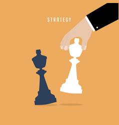 strategist holding in hand chess figure white king vector image