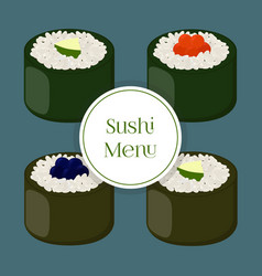 Sushi - asian food with fishrice seaweed caviar vector
