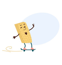 sweet humanized waffle character on skate vector image