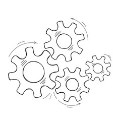 Teamwork concept hand drawn cog and gear sketch vector