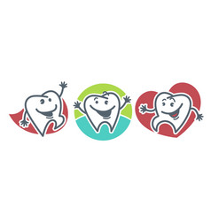 teeth with happy facial expressions and small vector image