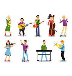 various musicians characters in flat style vector image