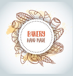 vintage background with sketch bakery pastries vector image