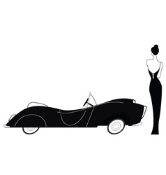 vintage car and stylish lady vector image