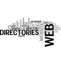 Web directories for seo text word cloud concept vector
