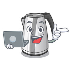 With laptop electric stainless steel kettle on vector